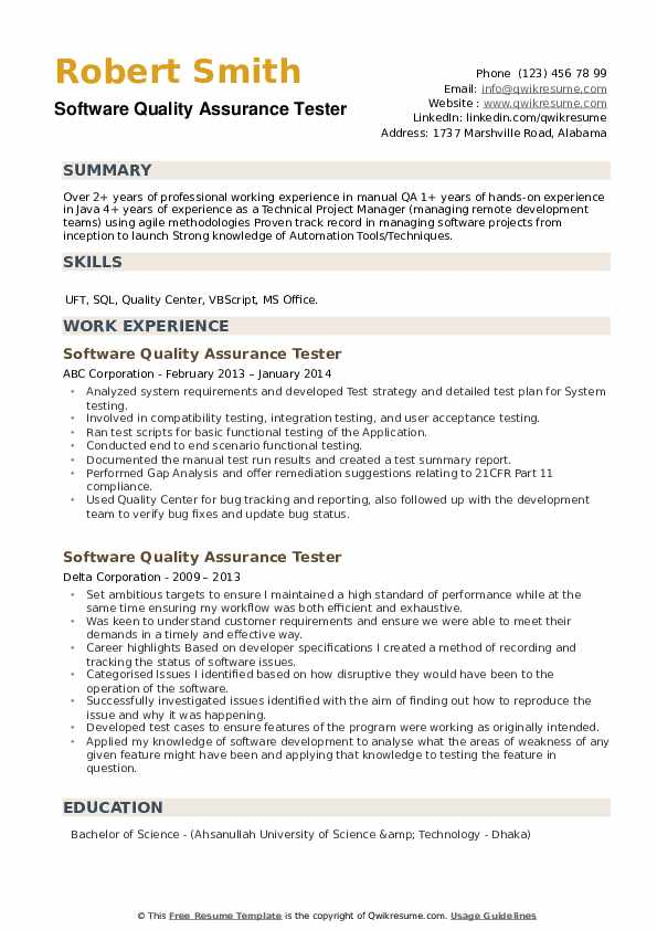 Software Quality Assurance Tester Resume example