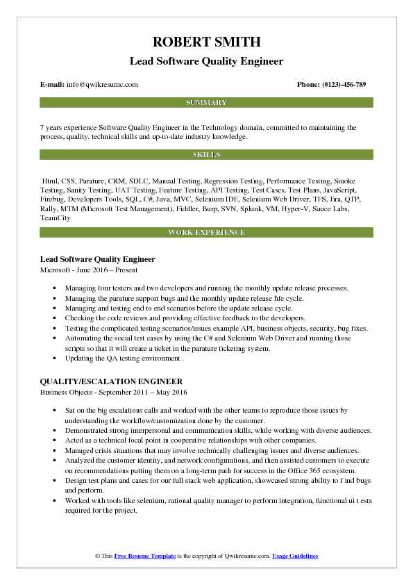 Lead Software Quality Engineer Resume Template