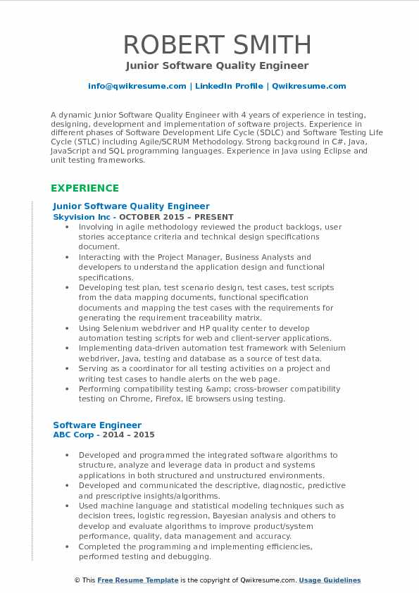 Junior Software Quality Engineer Resume Example