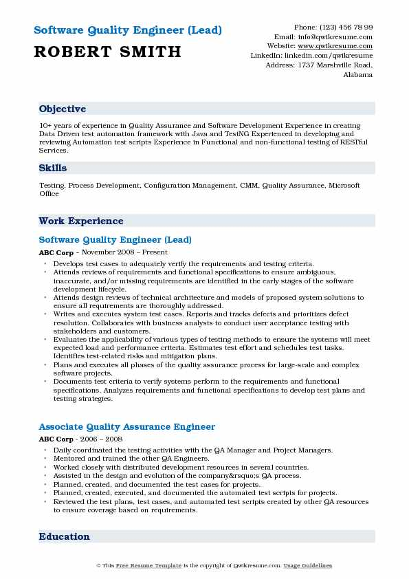 Software Quality Engineer (Lead) Resume Format