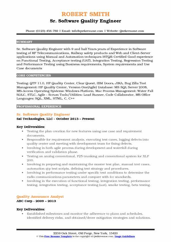 Sr. Software Quality Engineer Resume Model