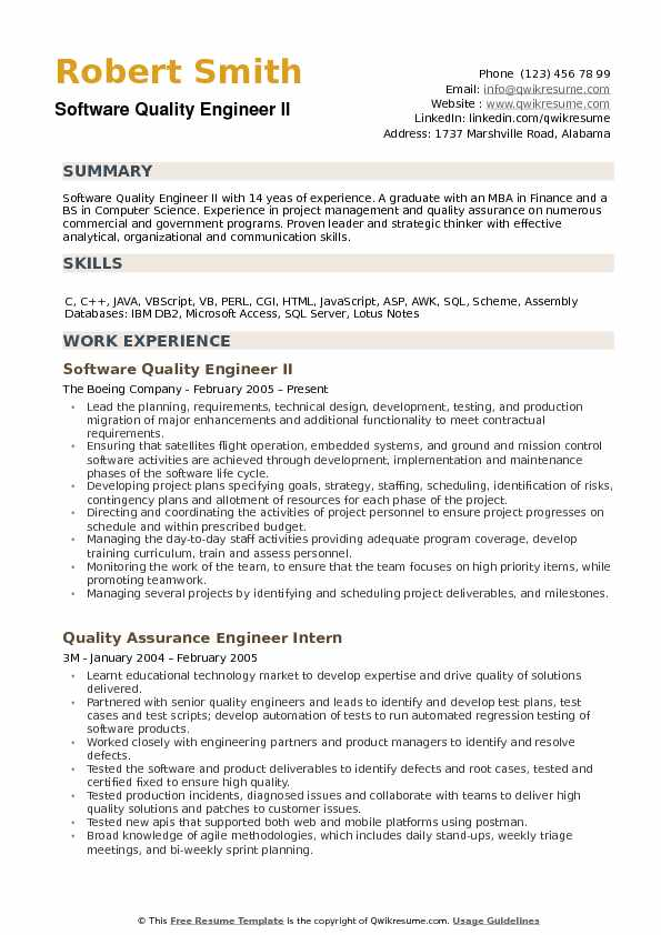 Software Quality Engineer Resume example