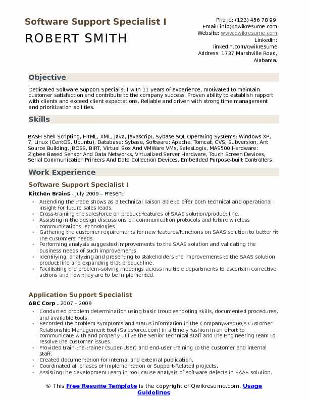 Software Support Specialist I Resume Template