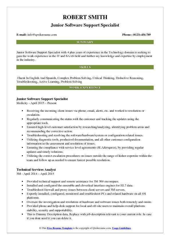 Junior Software Support Specialist Resume Sample