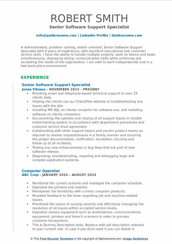 Senior Software Support Specialist Resume Model