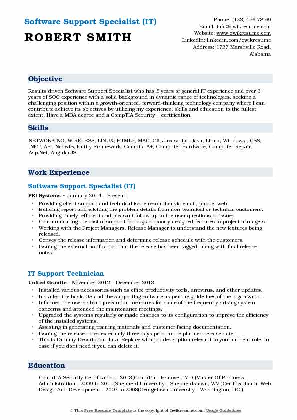Software Support Specialist (IT) Resume Example
