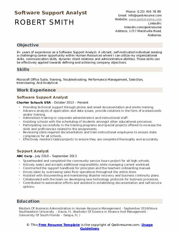 Software Support Analyst Resume Sample