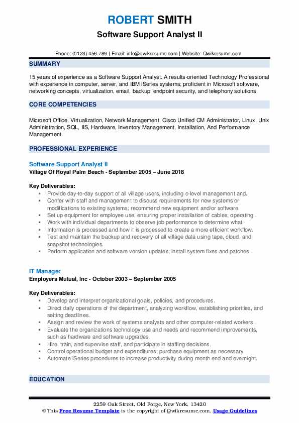 Software Support Analyst II Resume Format