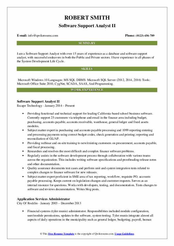 Software Support Analyst II Resume Template
