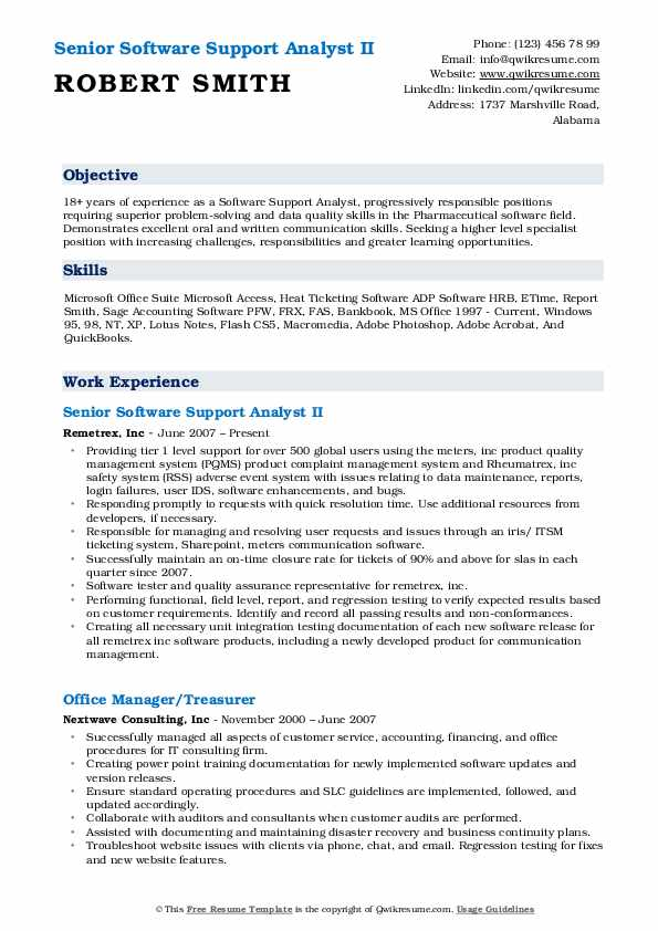 Senior Software Support Analyst II Resume Format