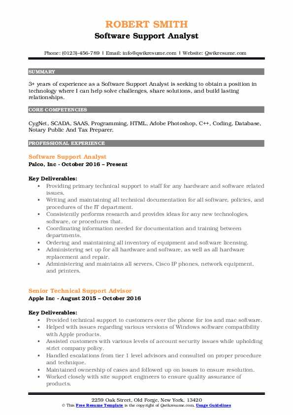 Software Support Analyst Resume Template