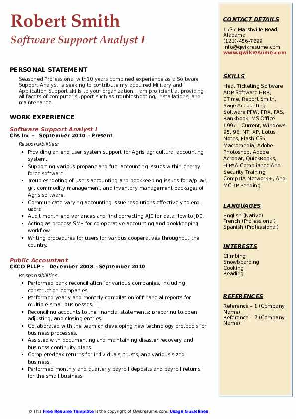 Software Support Analyst I Resume Model