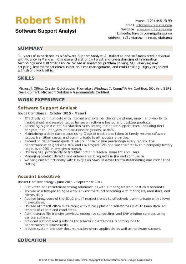 Software Support Analyst Resume example