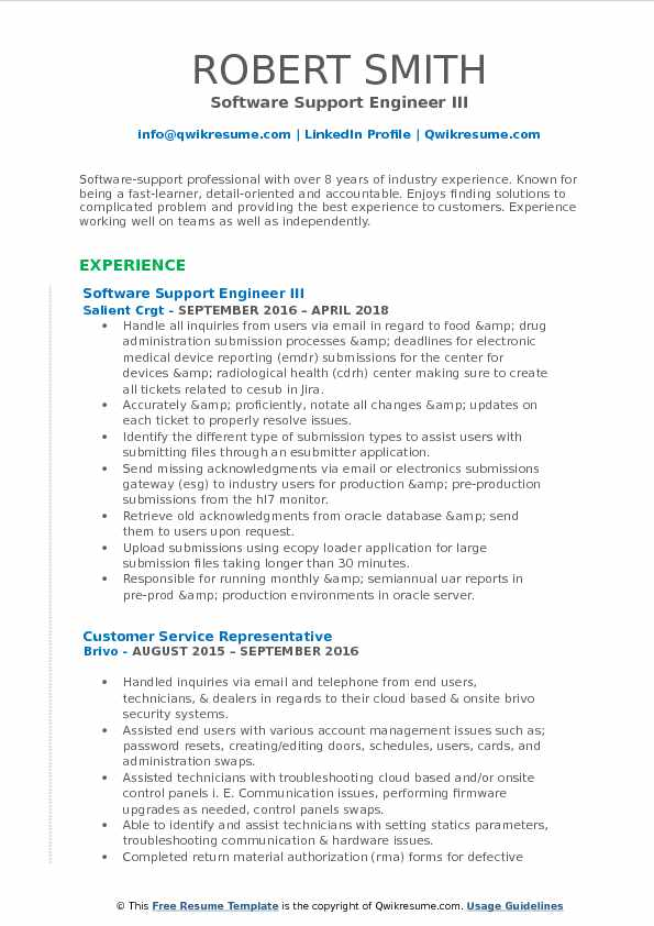 software support engineer resume samples