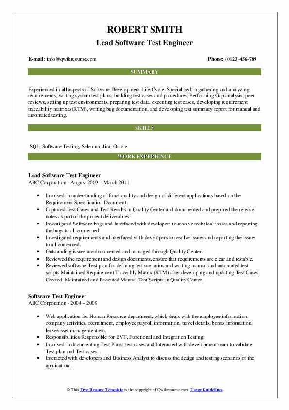 Lead Software Test Engineer Resume Model
