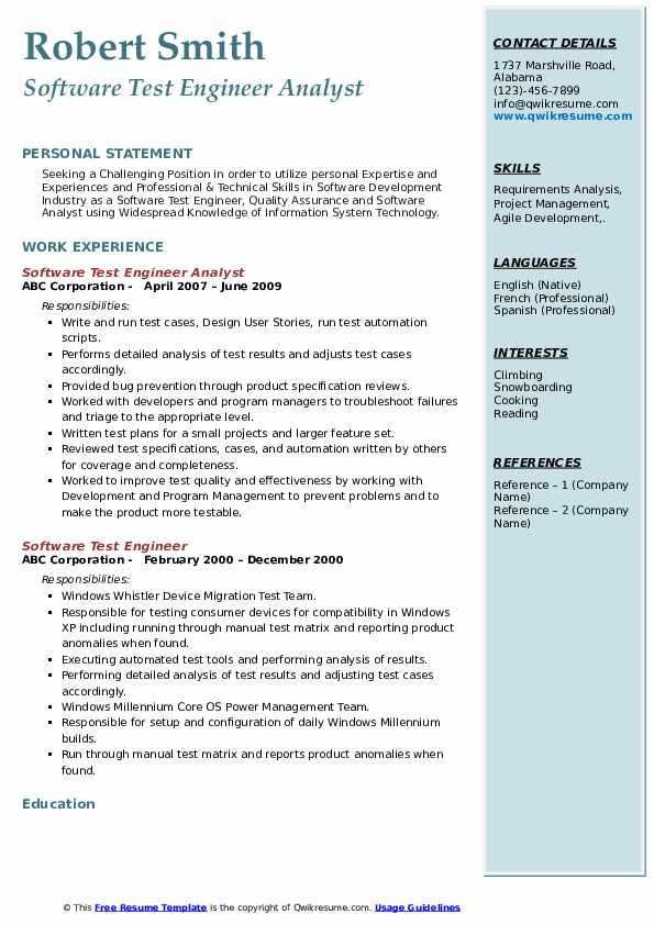 Software Test Engineer Analyst Resume Sample