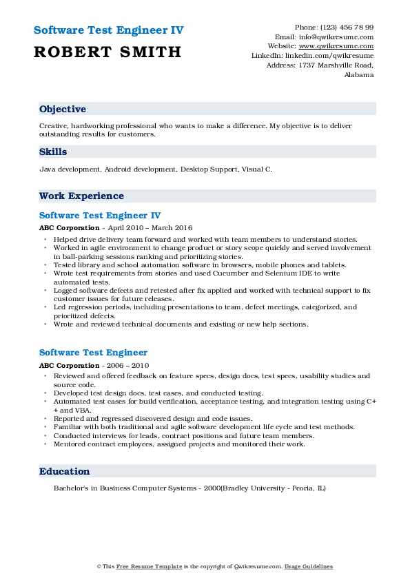 Software Test Engineer IV Resume Example