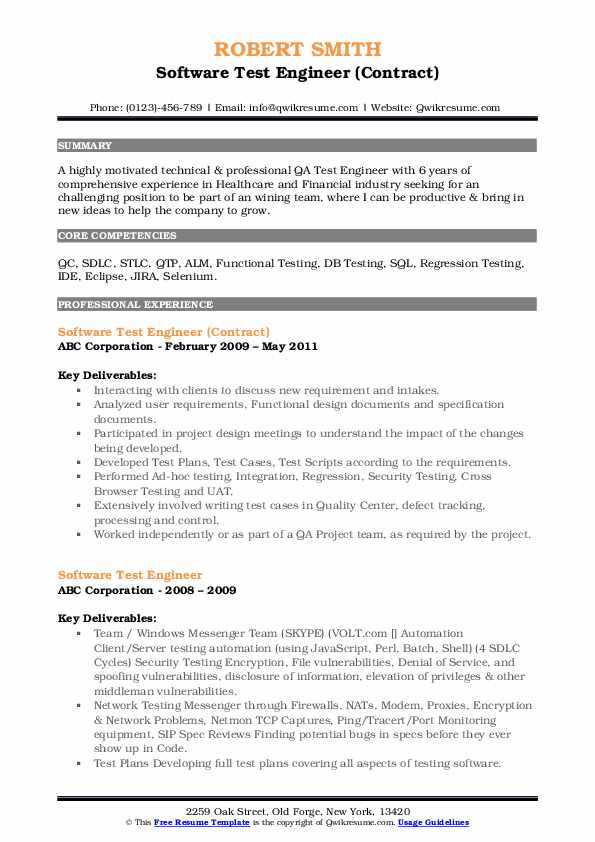 Software Test Engineer (Contract) Resume Sample