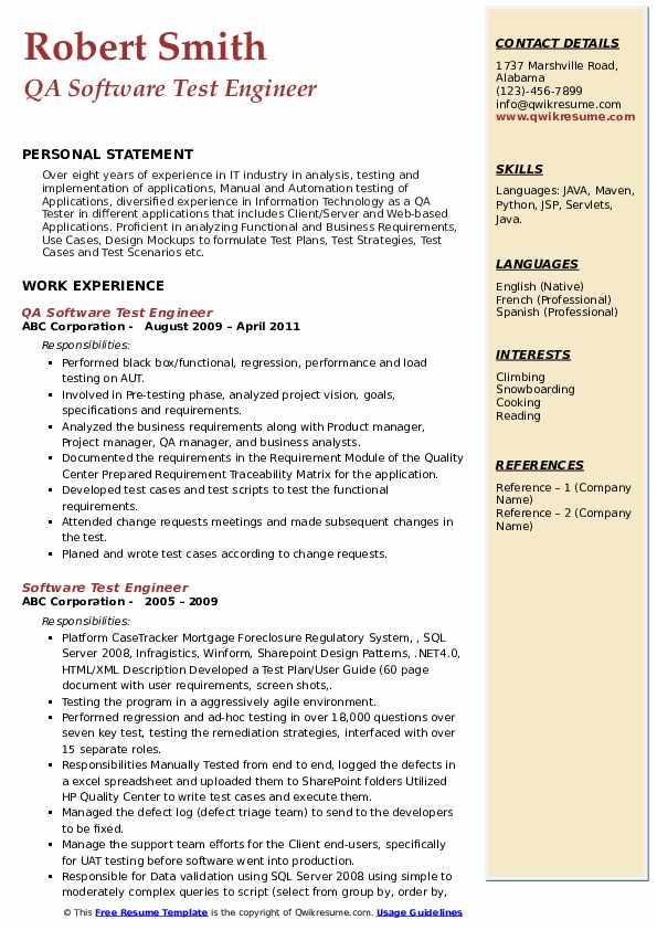 QA Software Test Engineer Resume Model