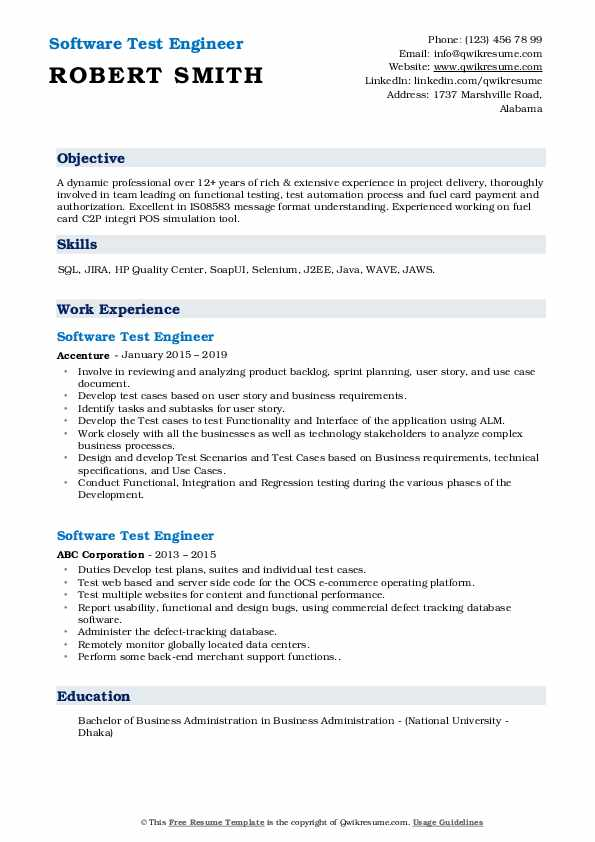 Senior Software Tester Resume Sample