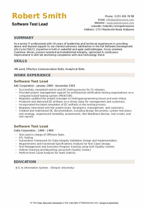 Software Test Lead Resume example