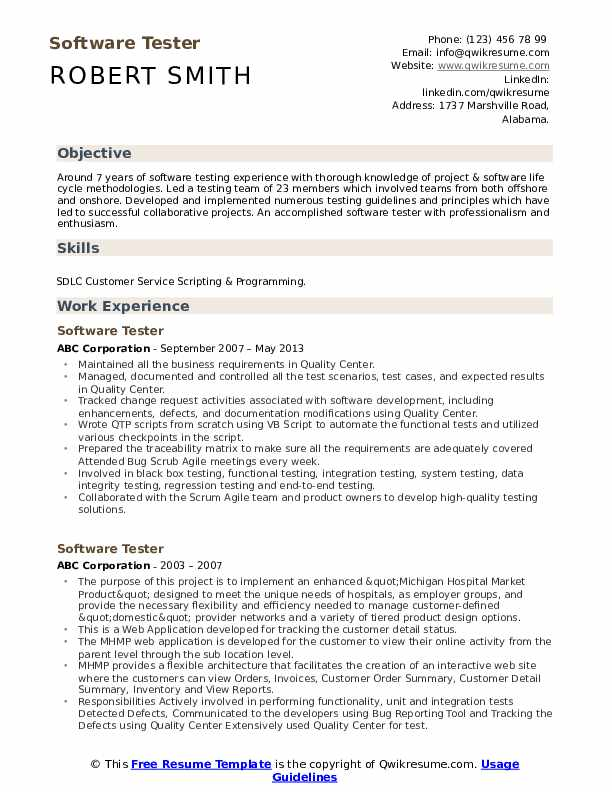 Software Tester Resume Samples Qwikresume