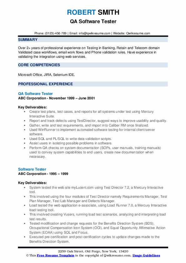 QA Software Tester Resume Sample