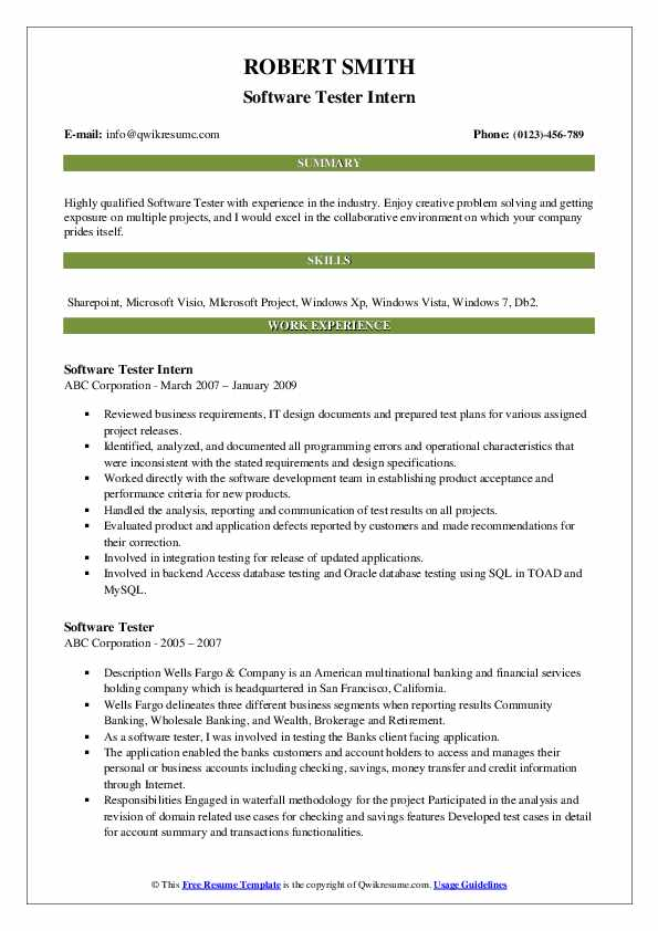 Software Tester Intern Resume Sample