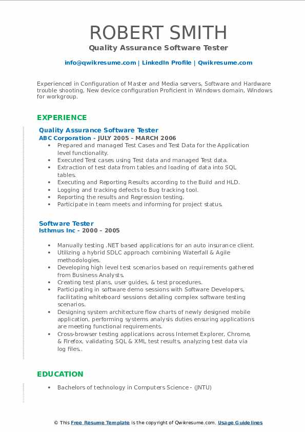 Quality Assurance Software Tester Resume Sample