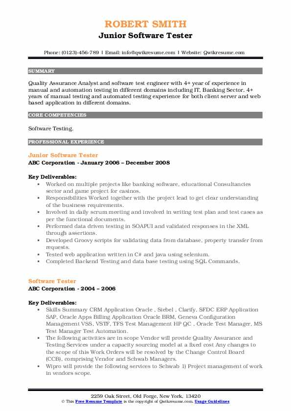 Junior Software Tester Resume Example