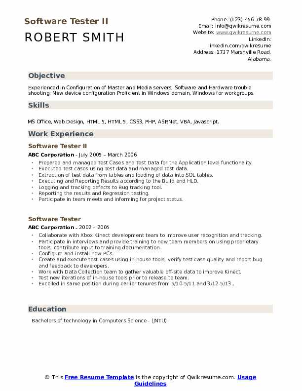 Software Tester II Resume Sample