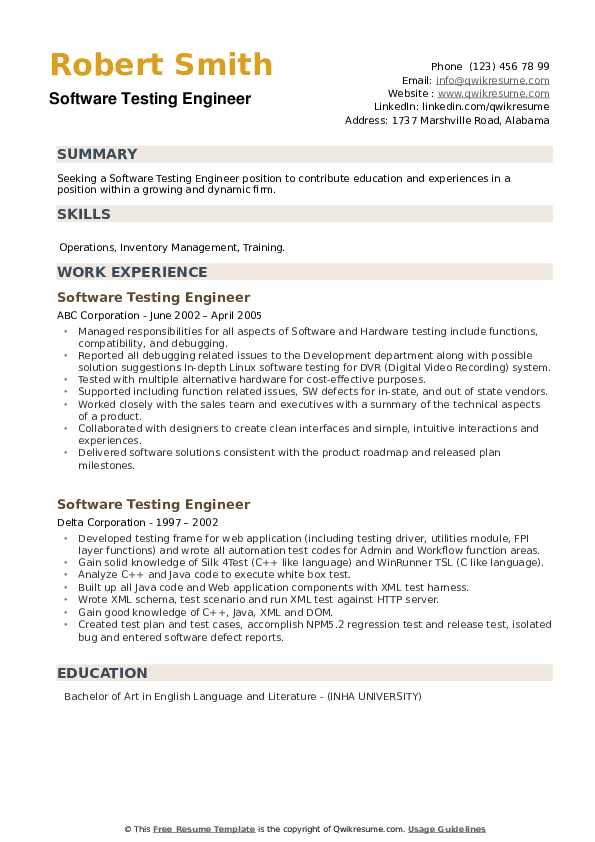 Software Testing Engineer Resume example