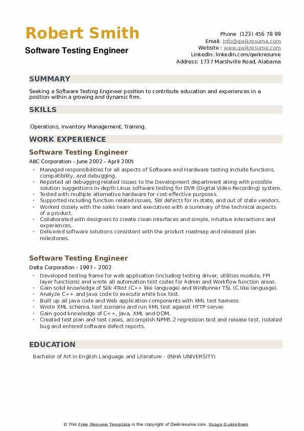 Software Testing Engineer Resume example