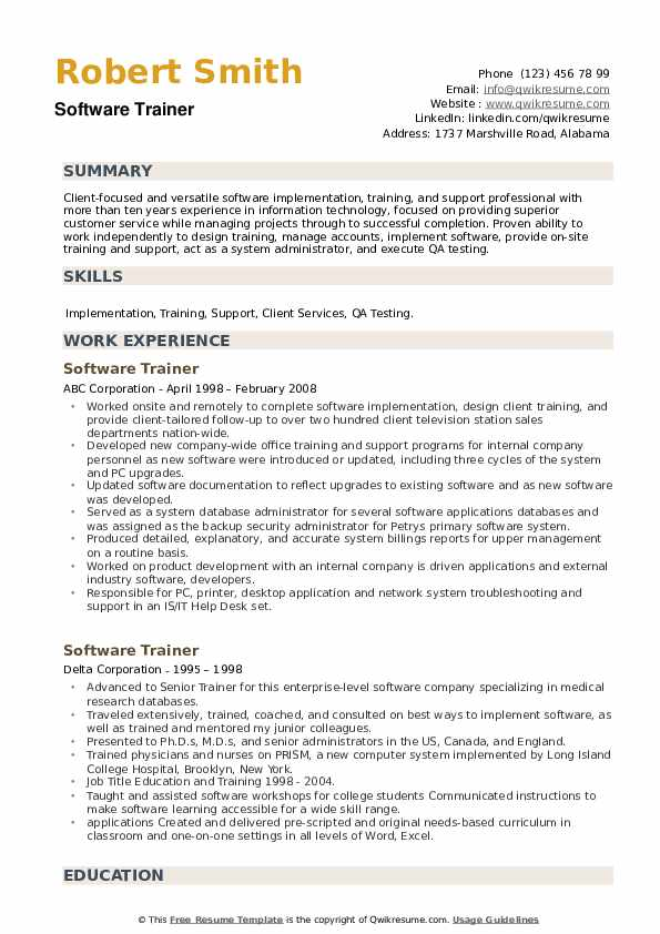 Software Trainer Resume example
