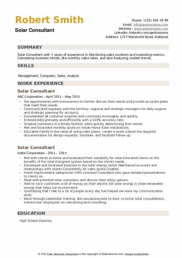 Solar Consultant Resume example