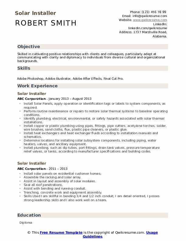 Solar Installer Resume Format