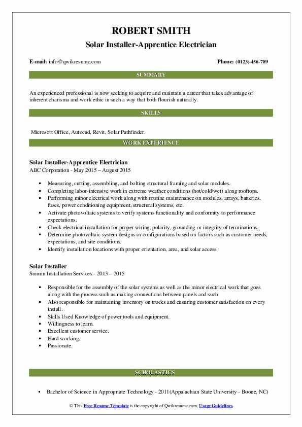 Solar Installer-Apprentice Electrician Resume Model