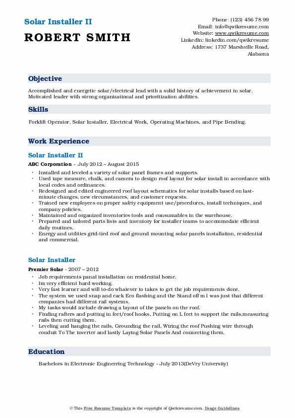 Solar Installer II Resume Model