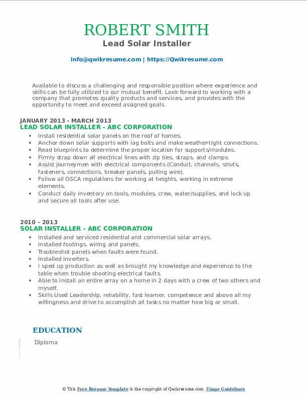 Lead Solar Installer Resume Model