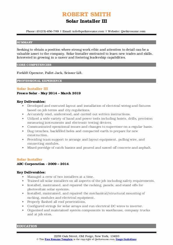 Solar Installer III Resume Model
