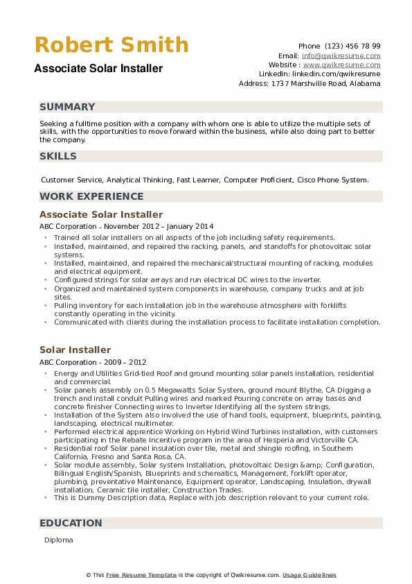 Associate Solar Installer Resume Example