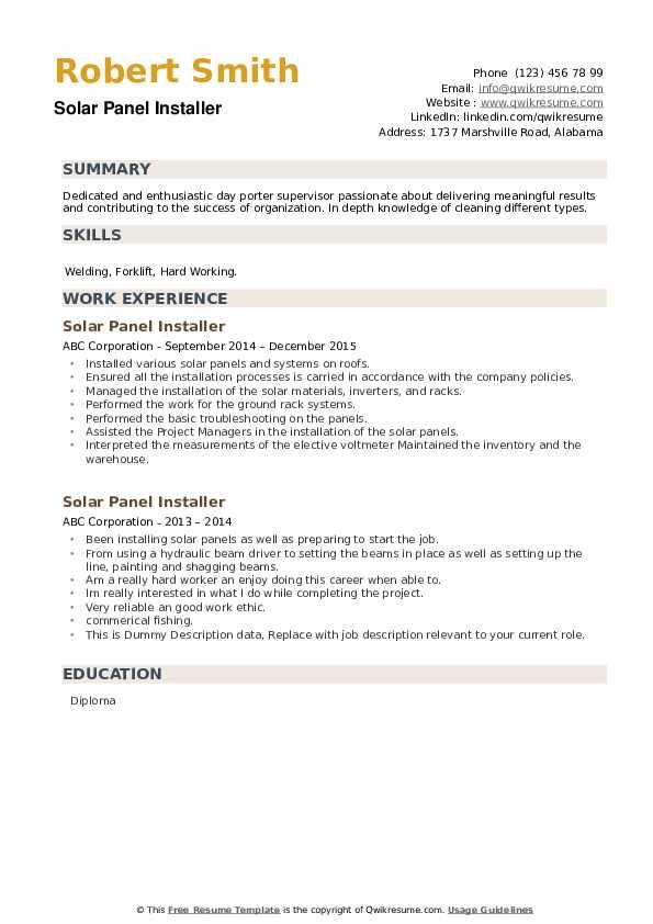 Solar Panel Installer Resume example