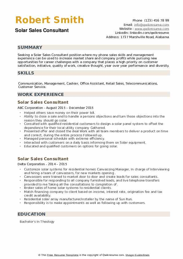 Solar Sales Consultant Resume example