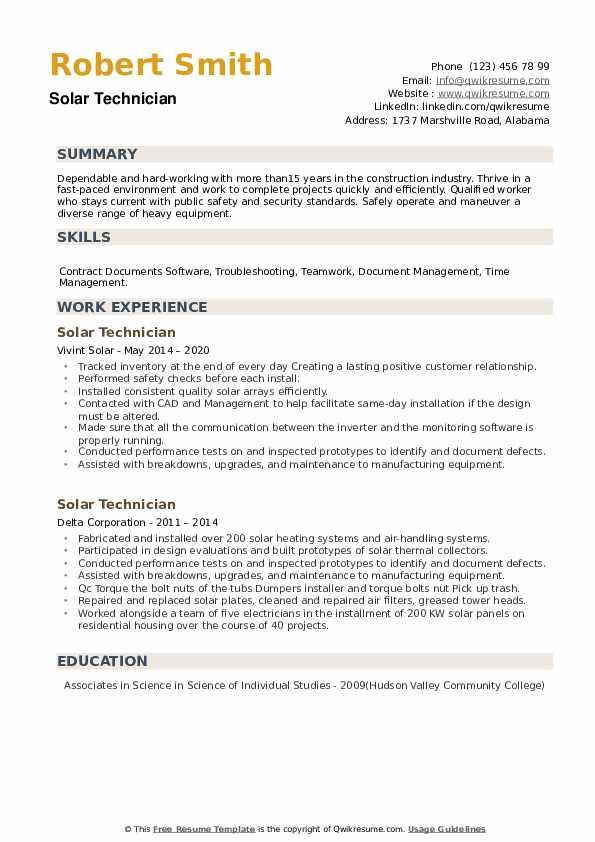 Solar Technician Resume example