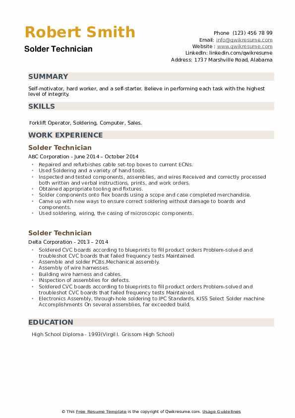 Solder Technician Resume example