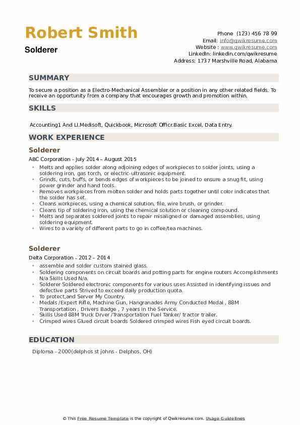 Solderer Resume example