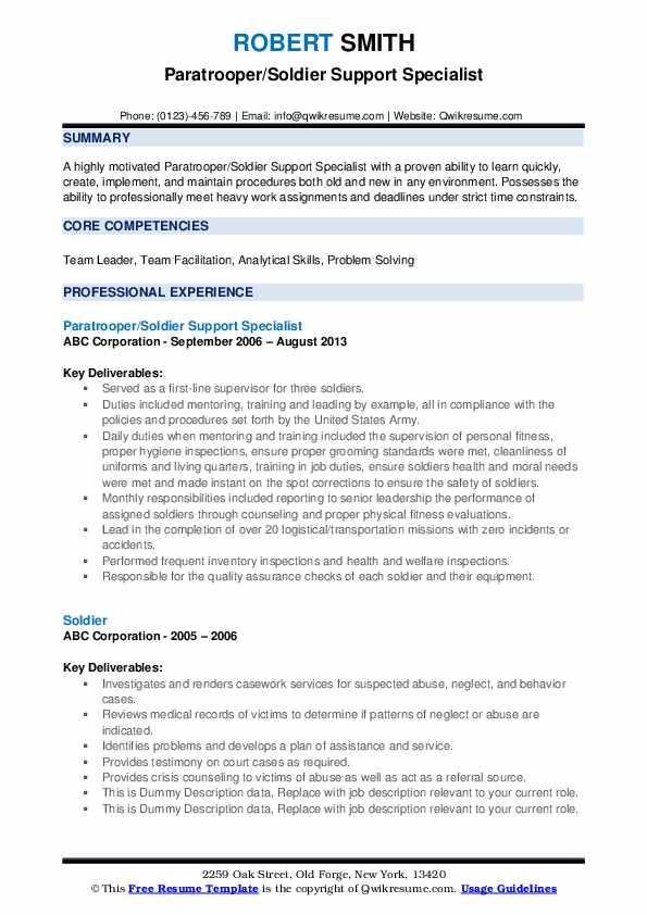 Paratrooper/Soldier Support Specialist Resume Sample