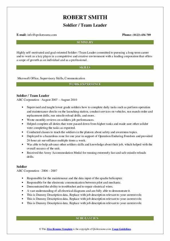 Soldier / Team Leader Resume Model