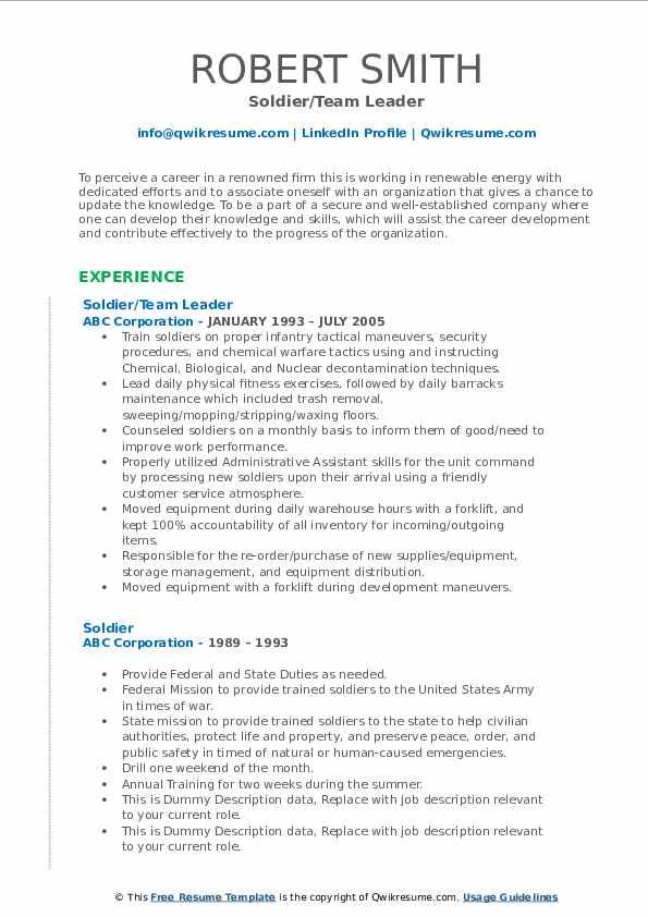 Soldier/Team Leader Resume Format