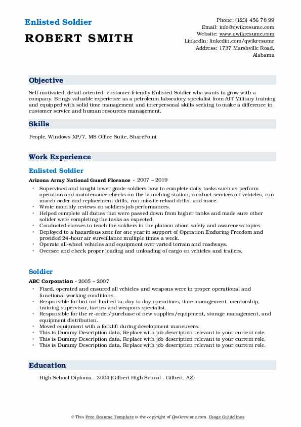 Enlisted Soldier Resume Template